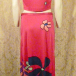 Documented Louis Feraud Early 1970's Mod Hot Pink Floral Print Maxi Skirt & Vest Set  (5)