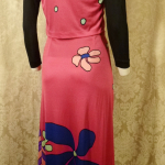 Documented Louis Feraud Early 1970's Mod Hot Pink Floral Print Maxi Skirt & Vest Set  (15)
