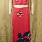 Documented Louis Feraud Early 1970's Mod Hot Pink Floral Print Maxi Skirt & Vest Set  (2)