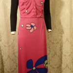 Documented Louis Feraud Early 1970's Mod Hot Pink Floral Print Maxi Skirt & Vest Set  (13)