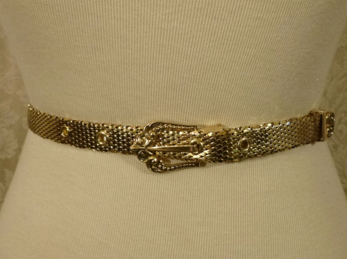 Vintage Whiting & Davis Western Style Gold Snake Scale Mesh Belt (7)