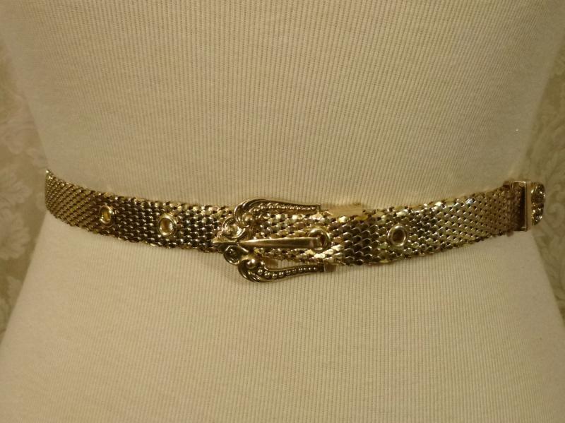 Vintage Whiting & Davis Western Style Gold Snake Scale Mesh Belt (7)