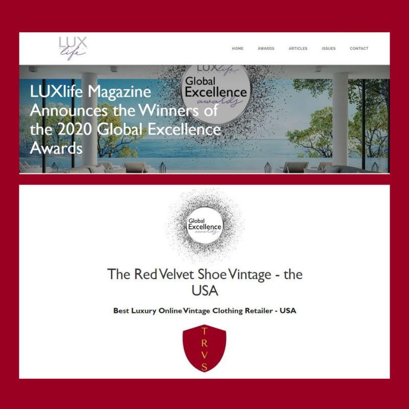 Luxlife 2021 award winner the red velvet shoe vintage