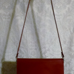 Vintage 1970s Lanvin Paris shoulder bag cross body purse maroon red  (3)