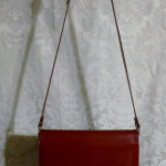 Vintage 1970s Lanvin Paris shoulder bag cross body purse maroon red  (2)