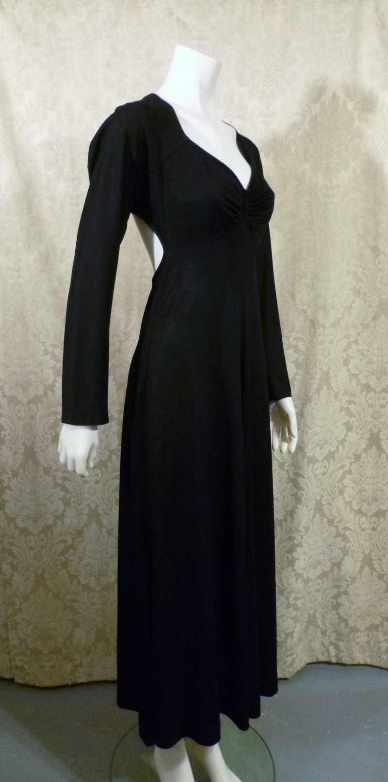 Vintage 1970s Mr. Boots Limited Edition plunging back backless black dress gown mireille darc style (9)