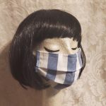Made in USA Face Mask The Red Velvet Shoe Vintage Dupont blue & white stripe (1)