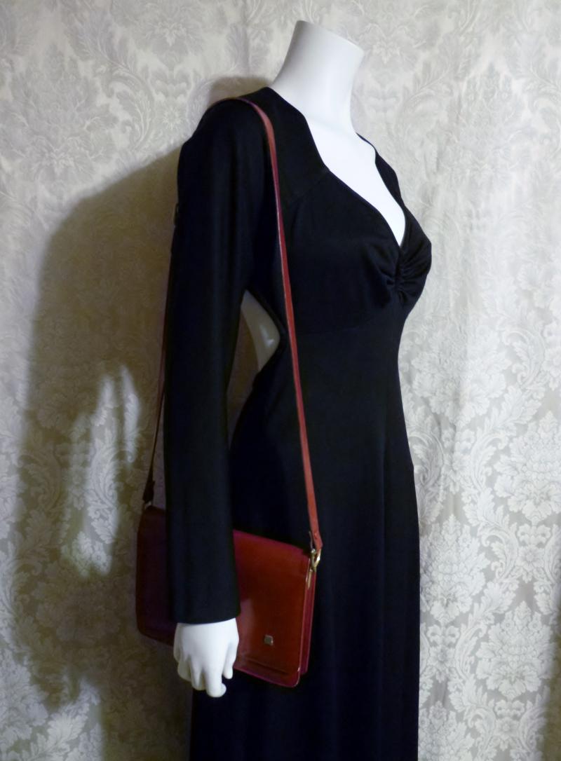 Vintage 1970s Lanvin Paris shoulder bag cross body purse maroon red  (1)