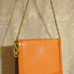 Vintage Charles Jourdan Paris Tangerine Orange Peach Chain Link Shoulder Bag with Snakeskin Trim (10)