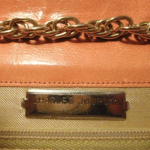 Vintage Charles Jourdan Paris Tangerine Orange Peach Chain Link Shoulder Bag with Snakeskin Trim (7)