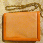 Vintage Charles Jourdan Paris Tangerine Orange Peach Chain Link Shoulder Bag with Snakeskin Trim (15)