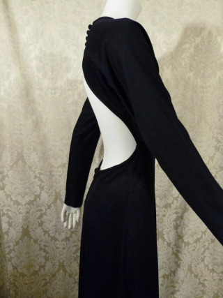 Vintage 1970s Mr. Boots Limited Edition plunging back backless black dress gown mireille darc style (6)