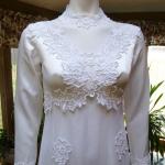1970s vintage high neck long sleeve empire waist wedding dress gown (13)