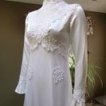 1970s vintage high neck long sleeve empire waist wedding dress gown (8)