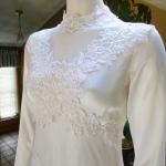 1970s vintage high neck long sleeve empire waist wedding dress gown (16)