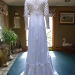 1970s vintage high neck long sleeve empire waist wedding dress gown (1)