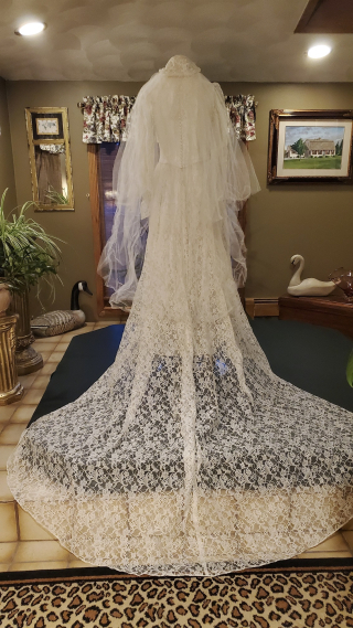 Rare 1940's Bridal Ensemble Ivory Lace Wedding Dress Cathedral Train  Matching Lace Headpiece  Ivory Satin Shoes  (54)
