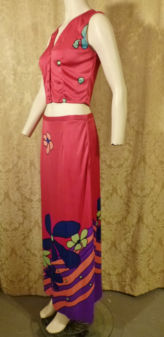 Documented Louis Feraud Early 1970's Mod Hot Pink Floral Print Maxi Skirt & Vest Set  (10)