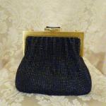 Vintage 1950s Whiting & Davis Black Diamond Beaded Mesh purse handbag (2)