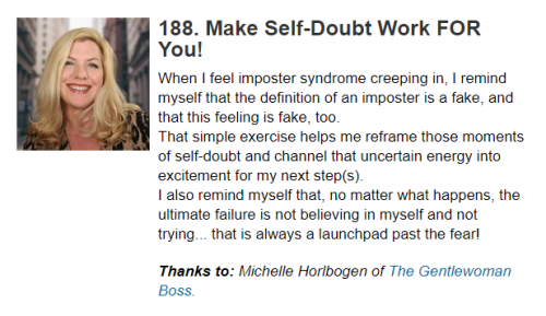 Michelle Horlbogen The Gentlewoman Boss featured in Carol Roth's Business Unplugged Tips for Overcoming Doubt and Imposter Syndrome in Small Business