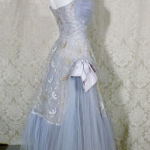 1950s vintage party cocktail prom dress violet lilac lavender blue  tulle bows embroidery starlite imports  (10)