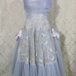 1950s vintage party cocktail prom dress violet lilac lavender blue  tulle bows embroidery starlite imports  (8)