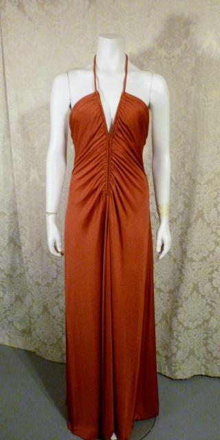 1970s vintage joy stevens california halter jersey dress gown rust brown backless  (8)