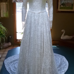 Rare 1940's Bridal Ensemble Ivory Lace Wedding Dress Cathedral Train  Matching Lace Headpiece  Ivory Satin Shoes  (20)