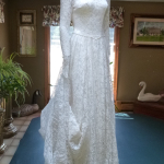 Rare 1940's Bridal Ensemble Ivory Lace Wedding Dress Cathedral Train  Matching Lace Headpiece  Ivory Satin Shoes  (22)