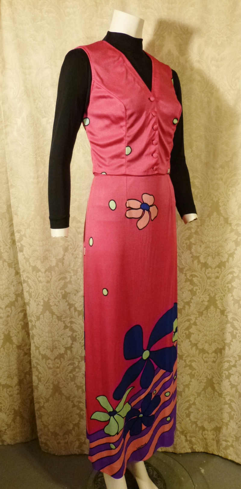 Documented Louis Feraud Early 1970's Mod Hot Pink Floral Print Maxi Skirt & Vest Set  (14)