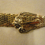Vintage Whiting & Davis Western Style Gold Snake Scale Mesh Belt (1)