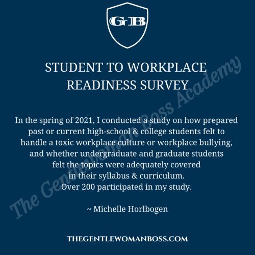 Student to workplace readiness survey michelle horlbogen the gentlewoman boss academy spring 2021
