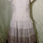Vintage 1950s lace blush lilac plum eggplant brown ombre dress by Deja Paris New York label  (11)
