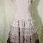 Vintage 1950s lace blush lilac plum eggplant brown ombre dress by Deja Paris New York label  (2)