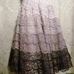 Vintage 1950s lace blush lilac plum eggplant brown ombre dress by Deja Paris New York label  (6)