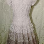 Vintage 1950s lace blush lilac plum eggplant brown ombre dress by Deja Paris New York label  (10)