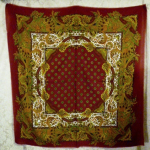 1980s vintage large paisley fringe shawl scarf  maroon clay tabacco army green brown  (5)