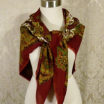 1980s vintage large paisley fringe shawl scarf  maroon clay tabacco army green brown  (2)