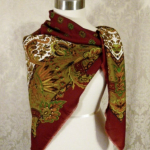 1980s vintage large paisley fringe shawl scarf  maroon clay tabacco army green brown  (4)