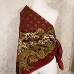 1980s vintage large paisley fringe shawl scarf  maroon clay tabacco army green brown  (1)