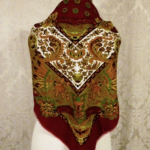 1980s vintage large paisley fringe shawl scarf  maroon clay tabacco army green brown  (3)