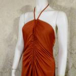1970s vintage joy stevens california halter jersey dress gown rust brown backless  (13)