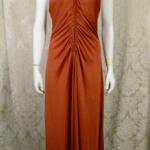 1970s vintage joy stevens california halter jersey dress gown rust brown backless  (5)
