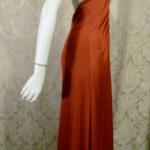 1970s vintage joy stevens california halter jersey dress gown rust brown backless  (10)