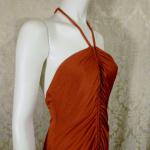 1970s vintage joy stevens california halter jersey dress gown rust brown backless  (4)