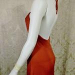 1970s vintage joy stevens california halter jersey dress gown rust brown backless  (12)