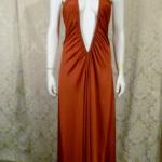 1970s vintage joy stevens california halter jersey dress gown rust brown backless  (6)